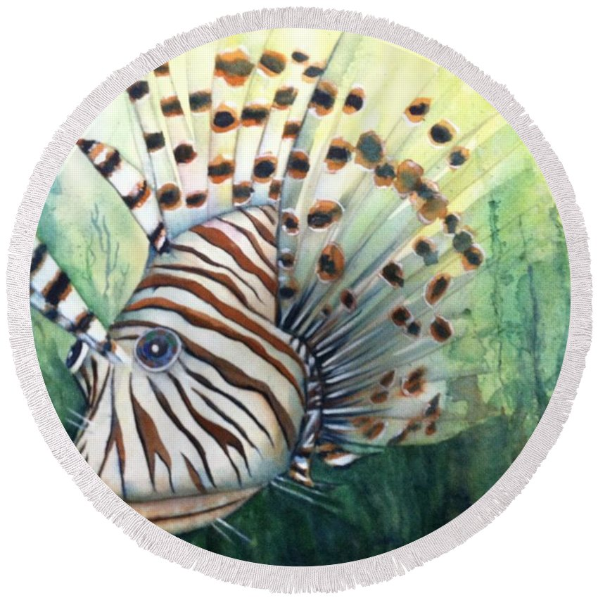 Lionfish Round Beach Towel featuring the painting Lionfish by Midge Pippel