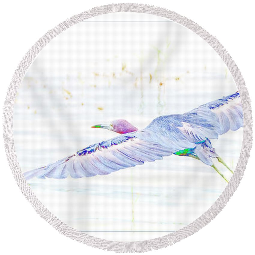 Little Blur Heron Round Beach Towel featuring the digital art Little Blue Heron In Flight by A Gurmankin