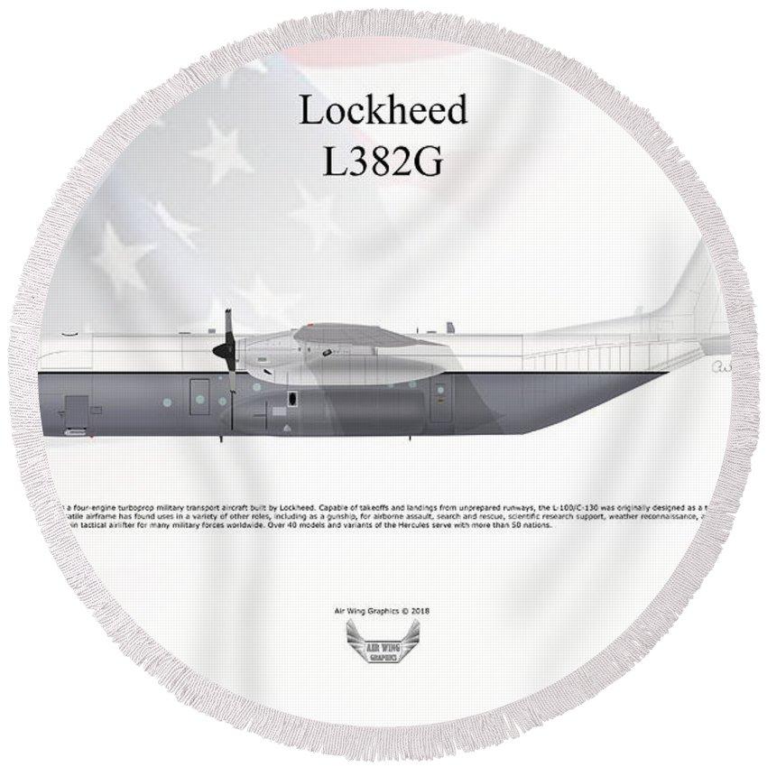 Lockheed Round Beach Towel featuring the digital art Lockheed L382g by Arthur Eggers