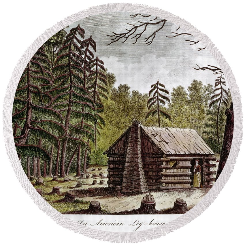 1826 Round Beach Towel featuring the photograph Log Cabin, 1826 by Granger