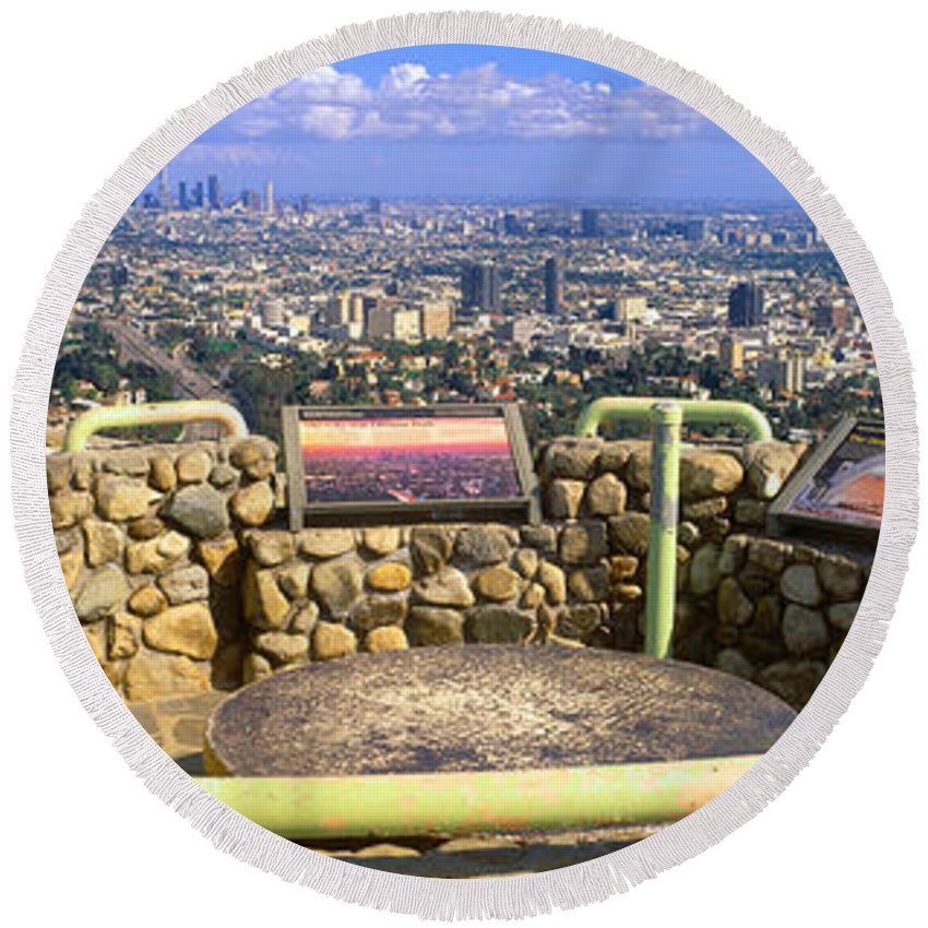 Photography Round Beach Towel featuring the photograph Los Angeles Skyline From Mulholland by Panoramic Images
