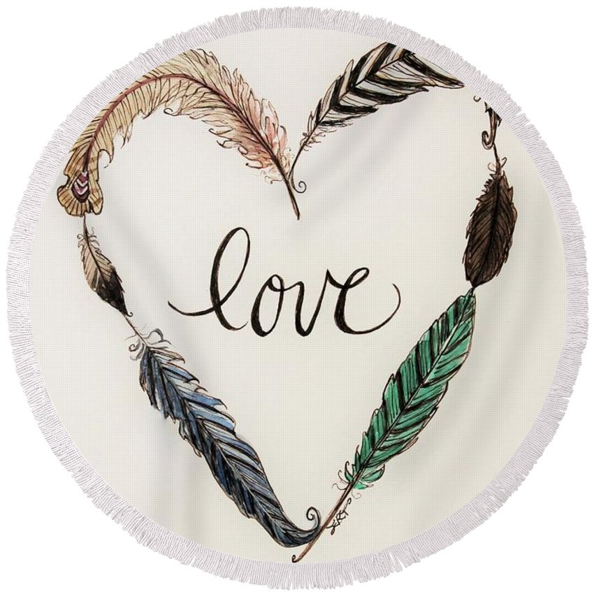 Love Round Beach Towel featuring the painting Feathers Of Love by Elizabeth Robinette Tyndall