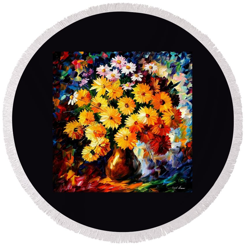 Afremov Round Beach Towel featuring the painting Love Irradiation by Leonid Afremov