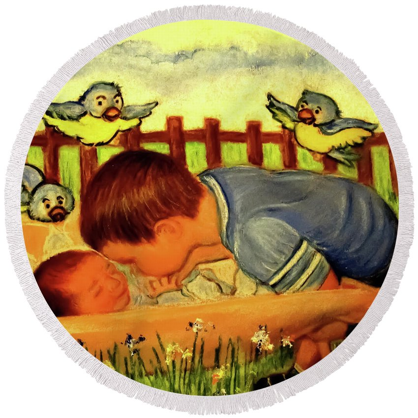 Small Boy Round Beach Towel featuring the painting Love You Forever by Hazel Holland