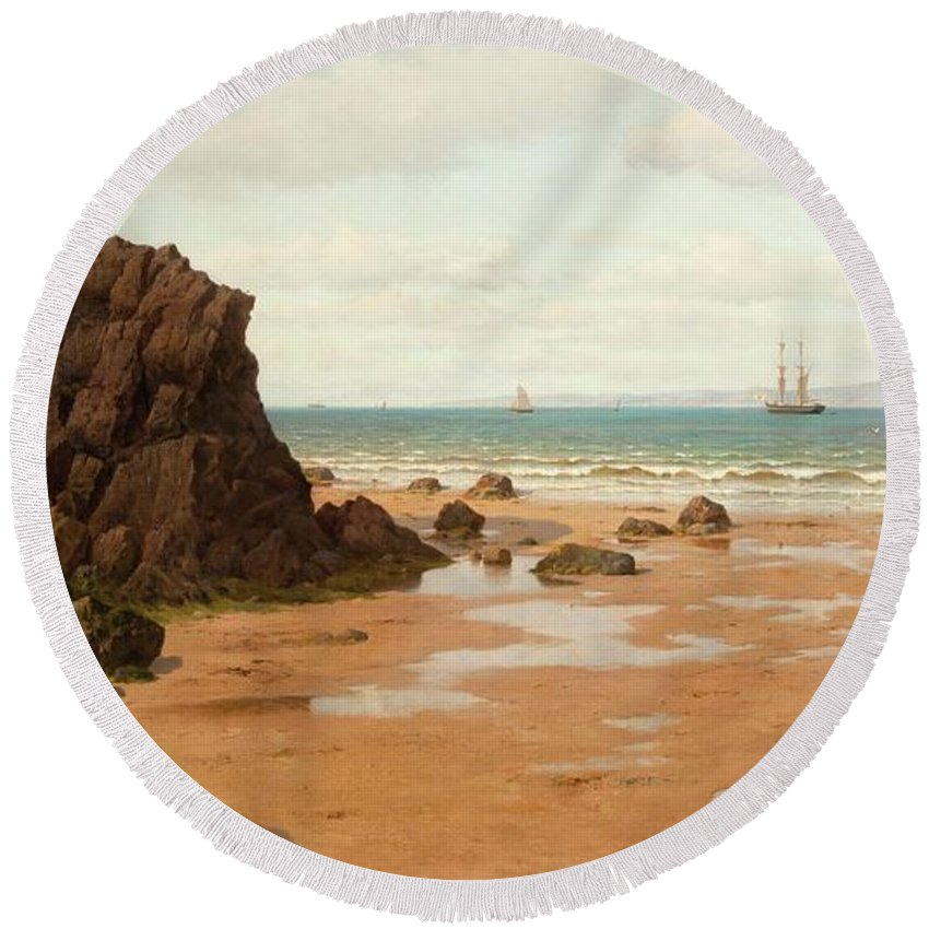 Oscar Kleineh Round Beach Towel featuring the painting Low Tide At The Ris Beach by MotionAge Designs