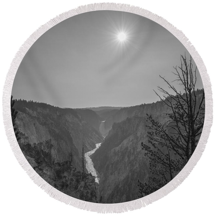 Yellowstone Round Beach Towel featuring the photograph Lower Yellowstone Falls by Michael Ver Sprill