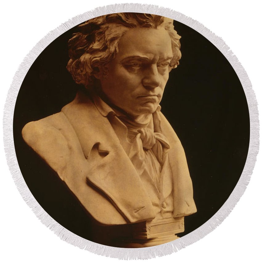 Fine Arts Round Beach Towel featuring the photograph Ludwig Van Beethoven, German Composer by Science Source