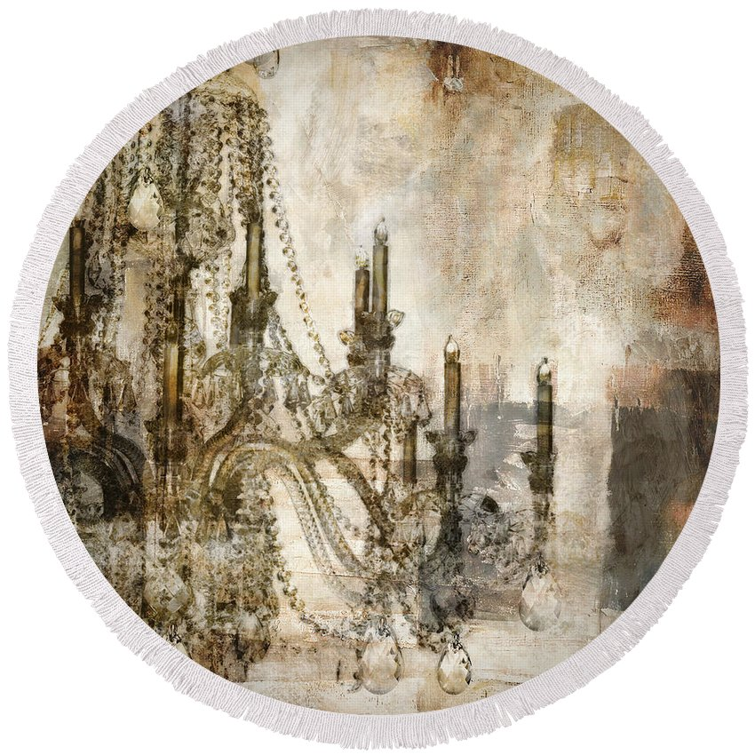 Chandelier Round Beach Towel featuring the painting Lumieres by Mindy Sommers