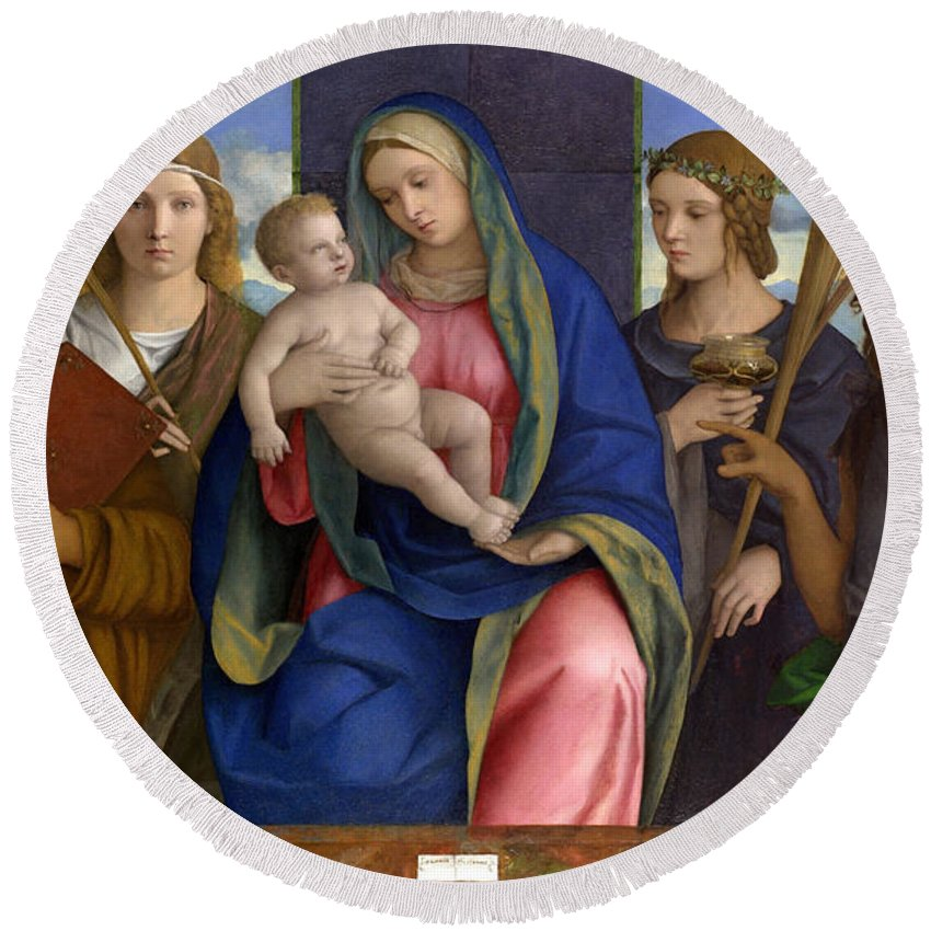 Blessed Virgin Mary Round Beach Towel featuring the painting Madonna And Child With Saints by Giovanni Bellini