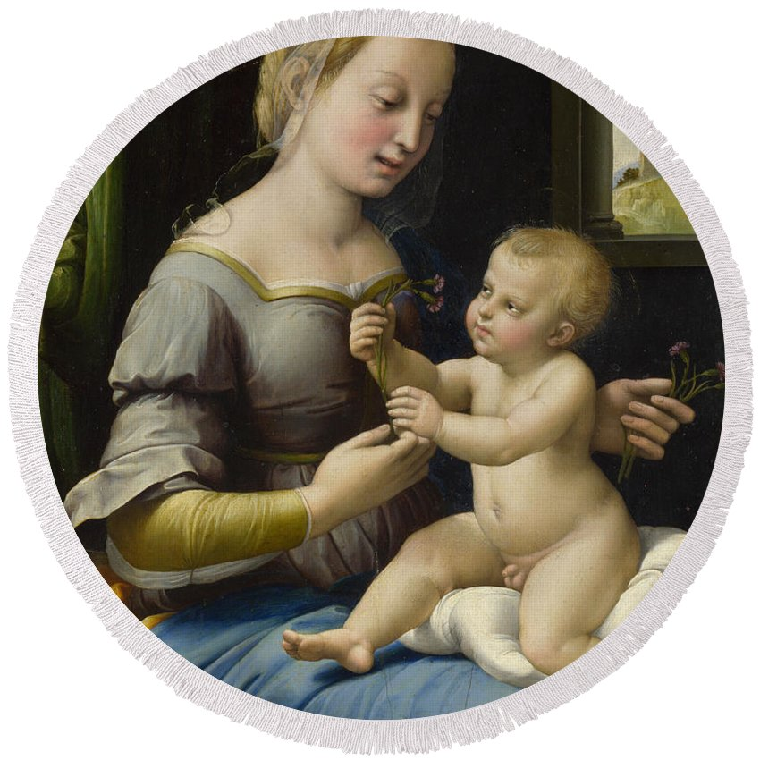 Blessed Virgin Mary Round Beach Towel featuring the painting Madonna Of The Pinks by Raffaello Sanzio