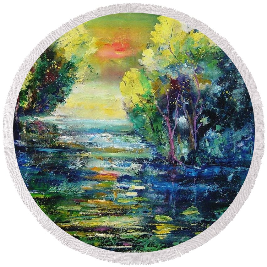 Pond Round Beach Towel featuring the painting Magic Pond by Pol Ledent