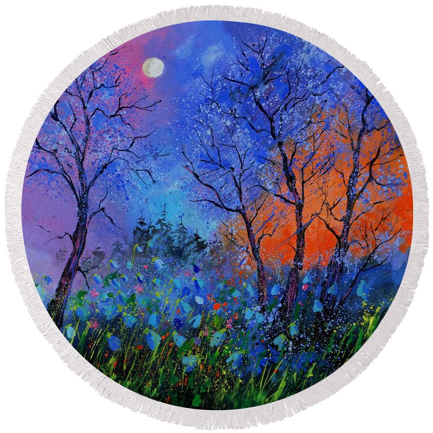 Landscape Round Beach Towel featuring the painting Magic wood by Pol Ledent