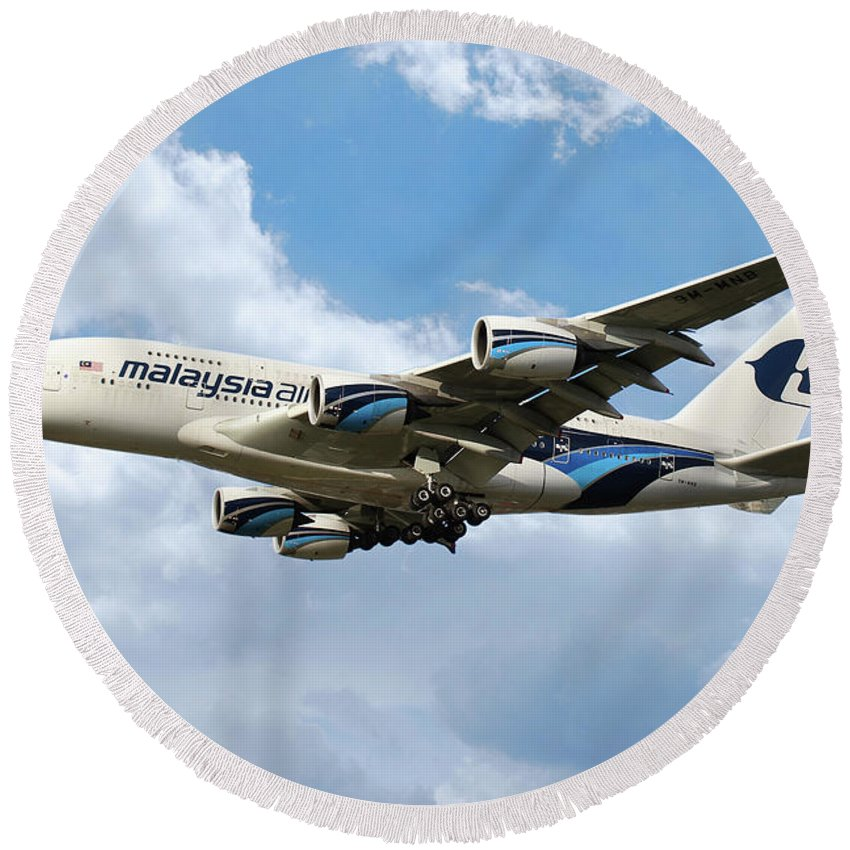 Malaysia Round Beach Towel featuring the digital art Malaysia Airlines Airbus A380 by J Biggadike