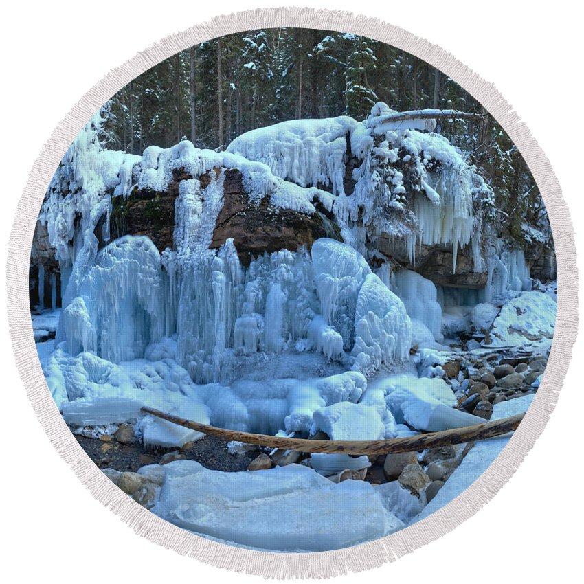 Maligne Canyon Round Beach Towel featuring the photograph Maligne Canyon Frozen by Adam Jewell