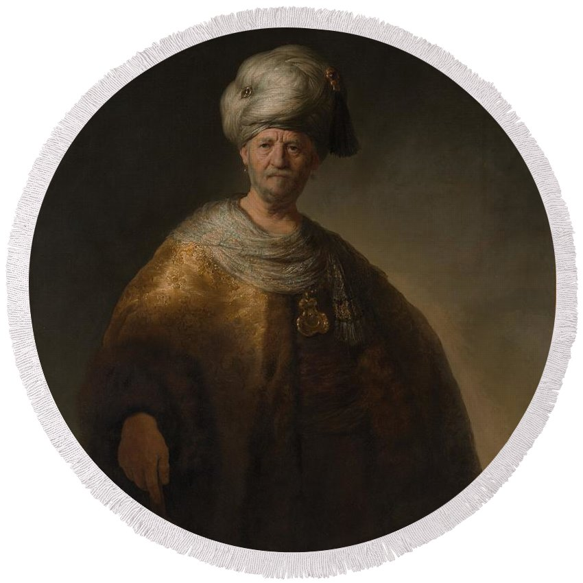 Rembrandt Man In Oriental Costume The Noble Slav Round Beach Towel featuring the painting Man In Oriental Costume The Noble Slav by Rembrandt