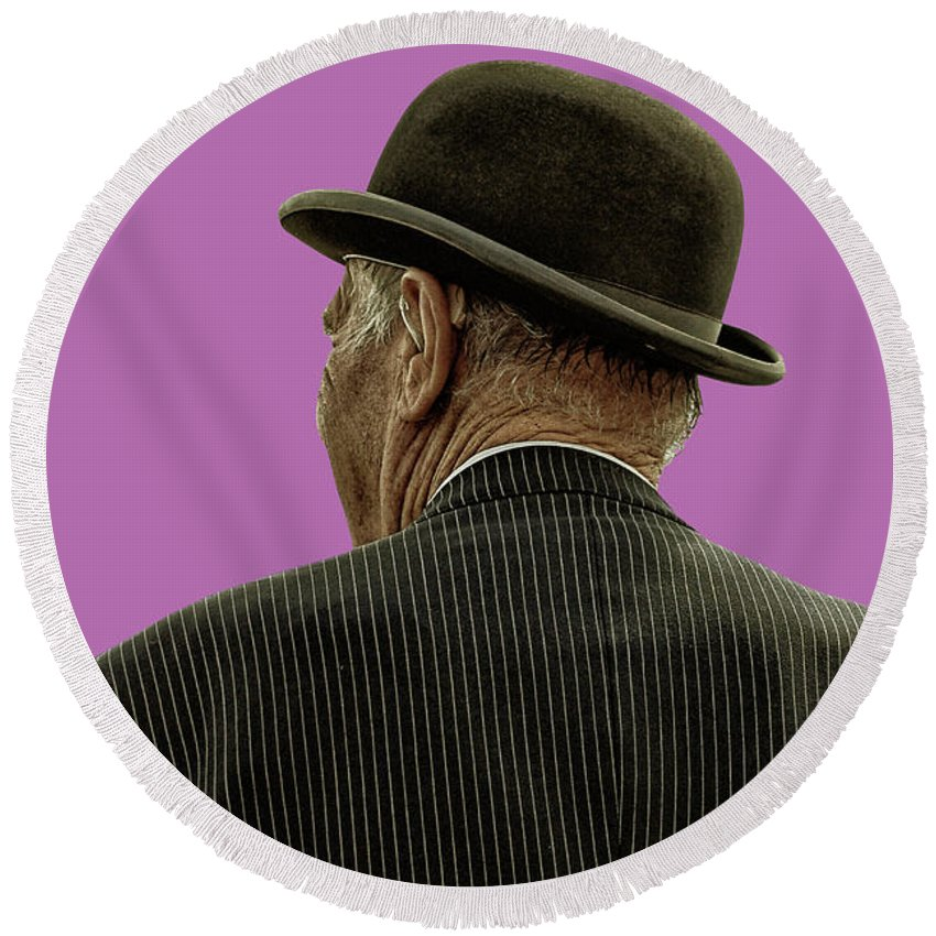 Bowler Hat Round Beach Towel featuring the photograph Man With A Bowler Hat by Toula Mavridou-Messer