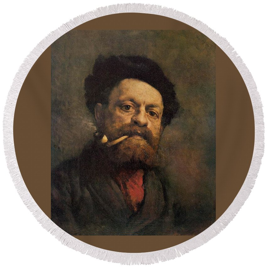 Man With A Pipe Round Beach Towel featuring the painting Man With A Pipe by Gustave Courbet