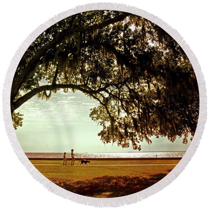 Mandeville Round Beach Towel featuring the photograph Mandeville Lakefront by Scott Pellegrin
