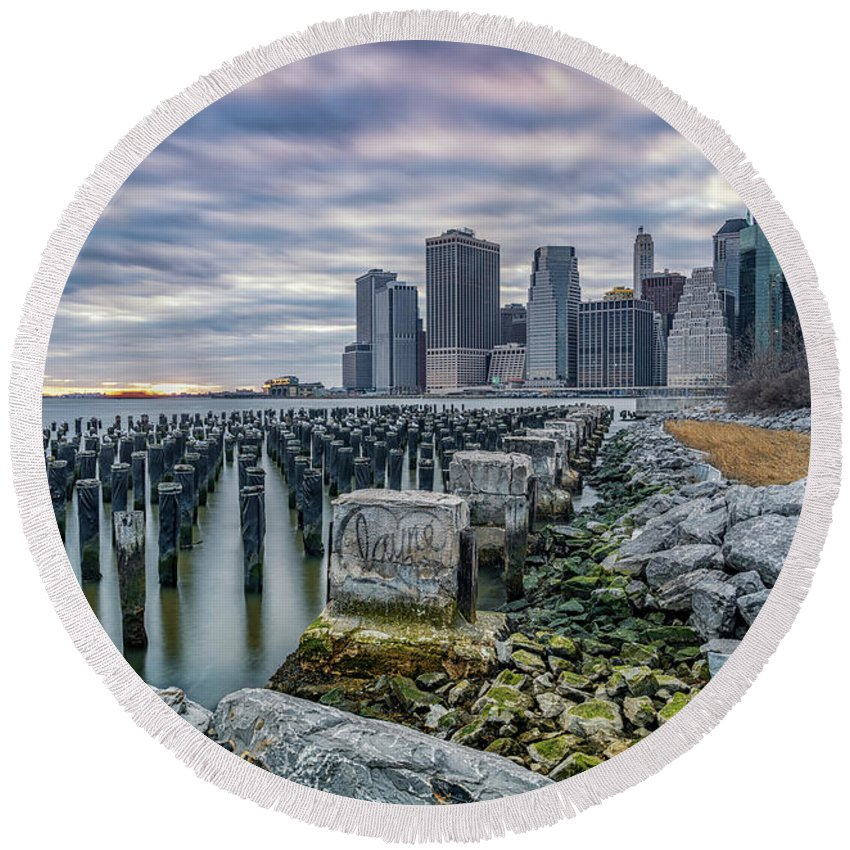 New York Round Beach Towel featuring the photograph Manhattan Skyline by Framing Places