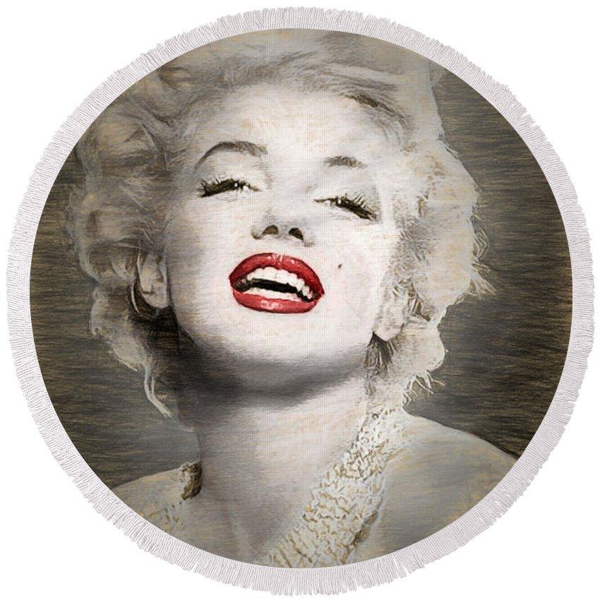 Marilyn Round Beach Towel featuring the digital art Marilyn Monroe Portrait by Quim Abella