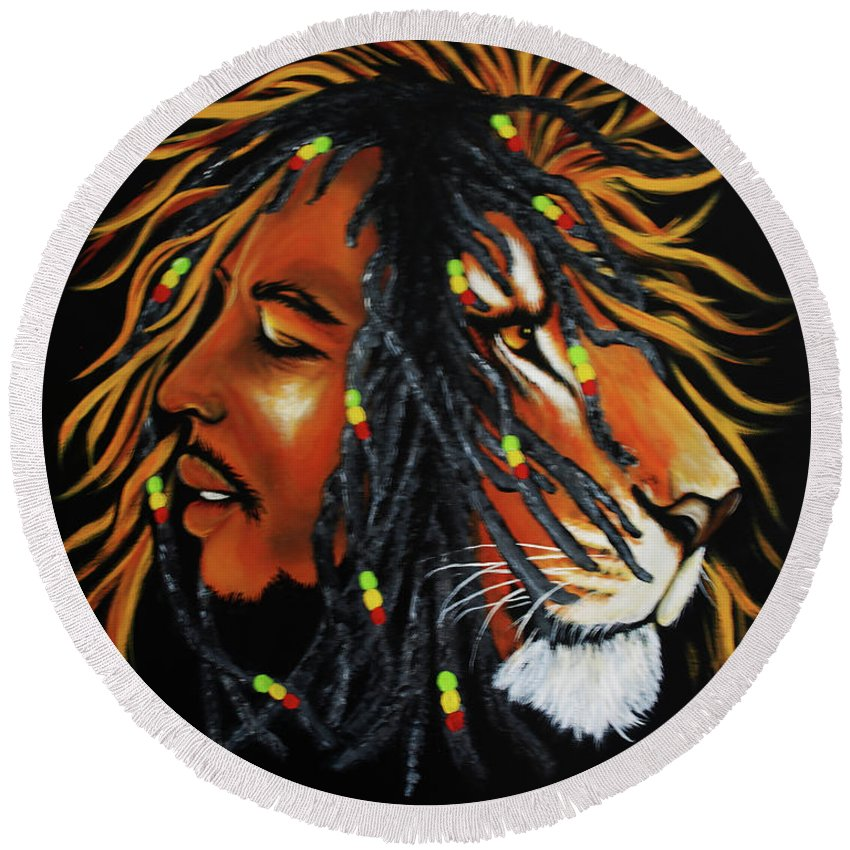 Bob Marley Round Beach Towel featuring the painting Marley by Adele Moscaritolo