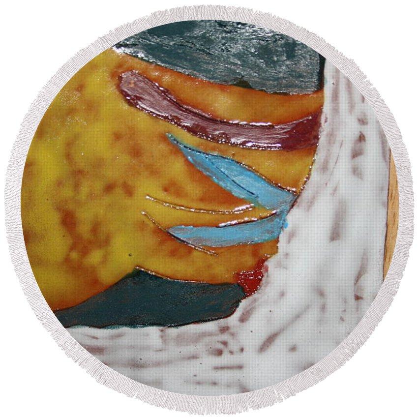 Jesus Round Beach Towel featuring the ceramic art Masks - Tile by Gloria Ssali