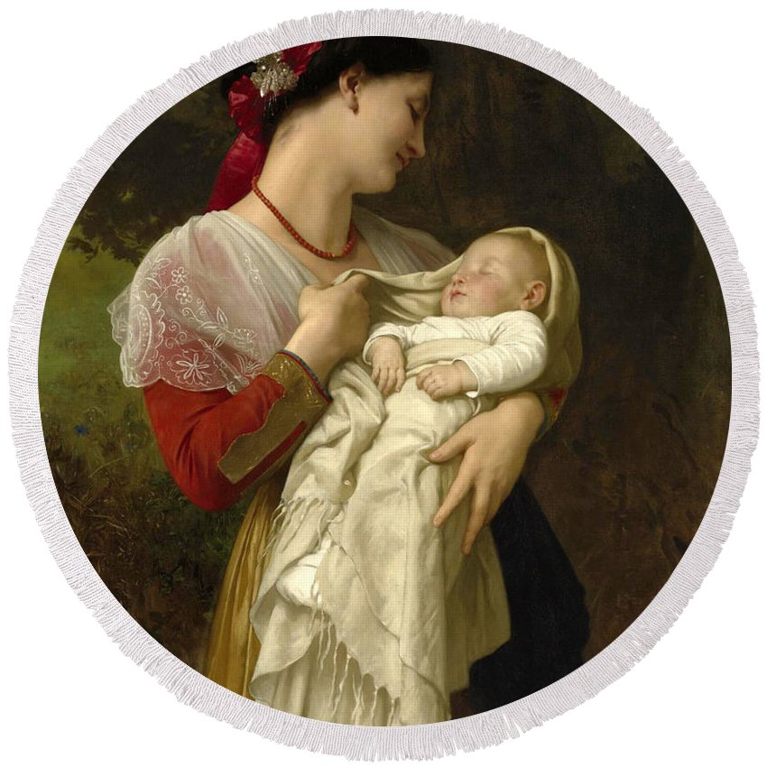 William-adolphe Bouguereau Round Beach Towel featuring the painting Maternal Admiration by William-Adolphe Bouguereau