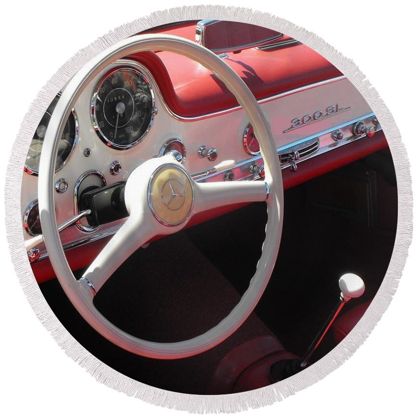 Mercedes Round Beach Towel featuring the photograph Mercedes 300sl Dashboard by Neil Zimmerman