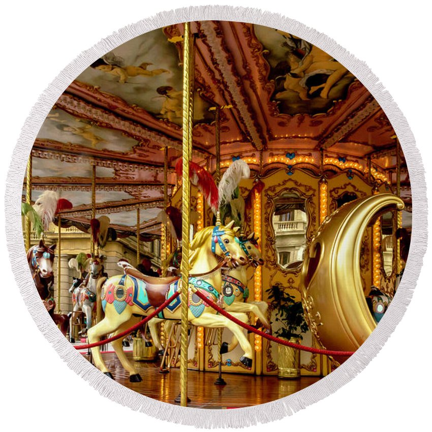 Florence Round Beach Towel featuring the photograph Merry Go Round by Wolfgang Stocker