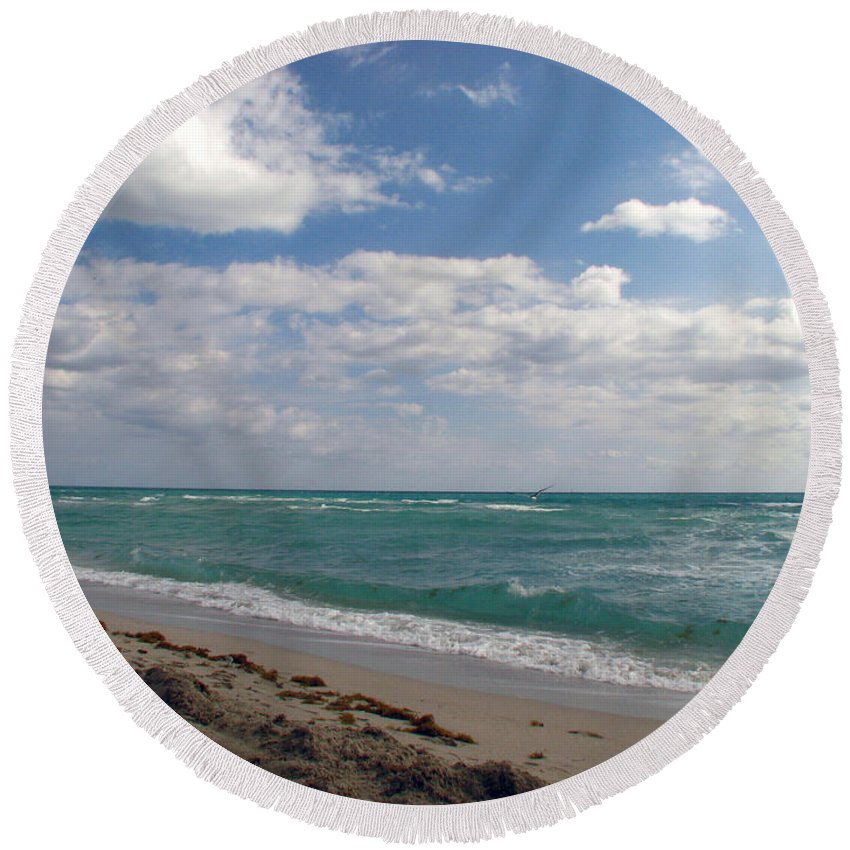 Miami Beach Round Beach Towel featuring the photograph Miami Beach by Amanda Barcon
