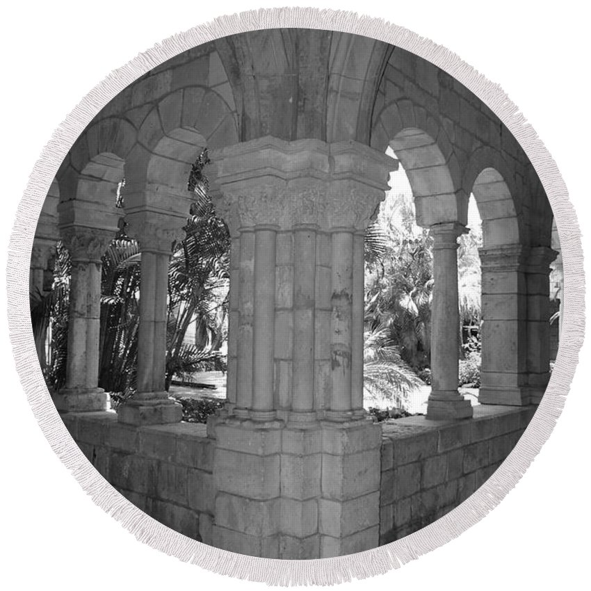 Black And White Round Beach Towel featuring the photograph Miami Monastery In Black And White by Rob Hans