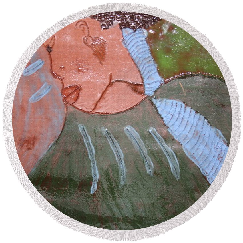 Jesus Round Beach Towel featuring the ceramic art Michelle - Tile by Gloria Ssali