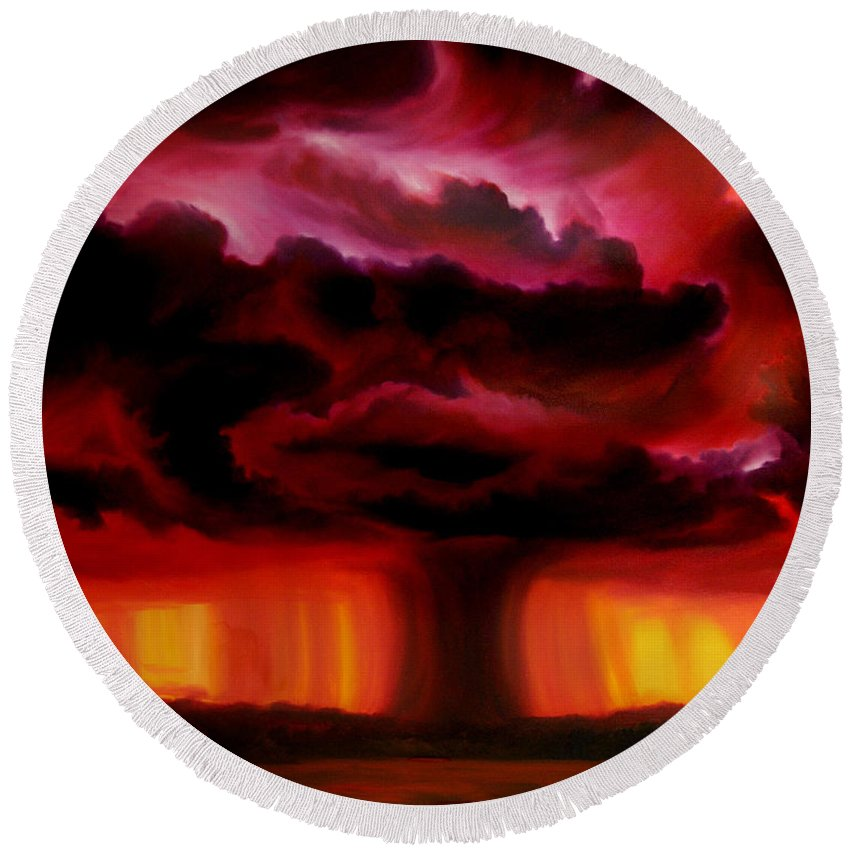 Skyscape Round Beach Towel featuring the painting Microburst by James Christopher Hill