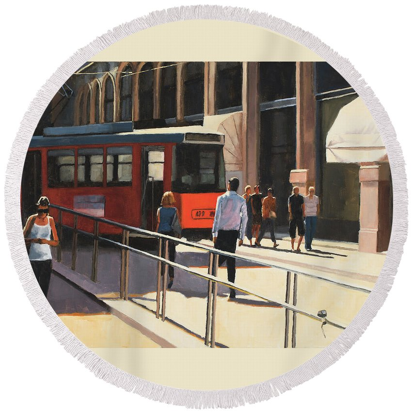 Milan Round Beach Towel featuring the painting Milan trolley by Tate Hamilton