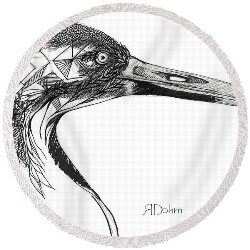 Whooping Crane Round Beach Towel featuring the drawing Miracle Bird by Regan Dohm