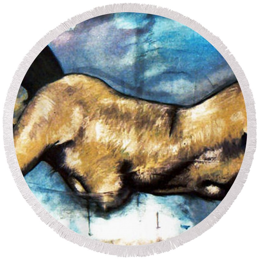 Nude Round Beach Towel featuring the painting Missy by Thomas Valentine