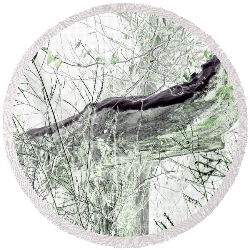 Forest Round Beach Towel featuring the digital art Misty Morn by Will Borden
