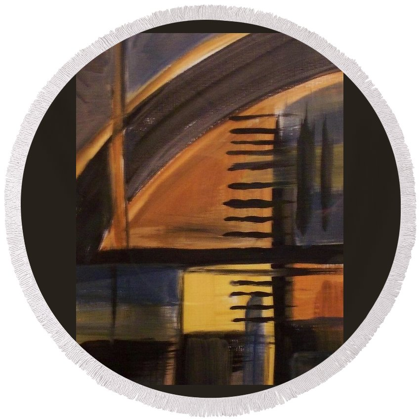 Abstract Round Beach Towel featuring the painting Modern Architecture 1 by Anita Burgermeister