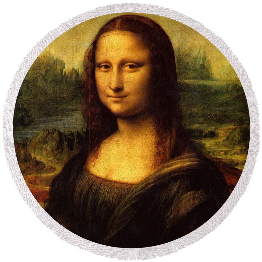 Mona Lisa Round Beach Towel featuring the photograph Mona Lisa Portrait by Marlo Dela Rosa