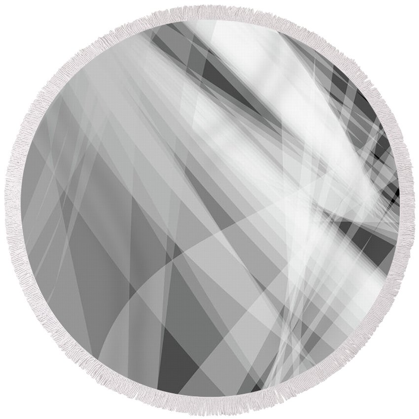 Wave Round Beach Towel featuring the digital art Monochrome White Abstract Vector Background, Gray Transparent Wa by Svetlana Corghencea