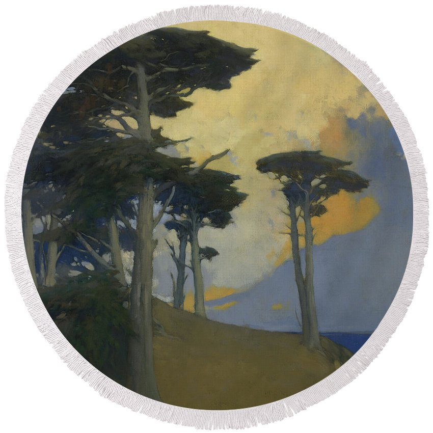 Monterey Cypress By Arthur Frank Mathews Round Beach Towel featuring the painting Monterey Cypress by Arthur Frank Mathews