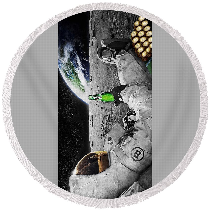 Space Round Beach Towel featuring the digital art Moon Rockin by Canvas Cultures