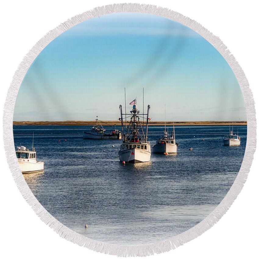 Chatham Round Beach Towel featuring the photograph Moored In Chatham Harbor by Mike Poland