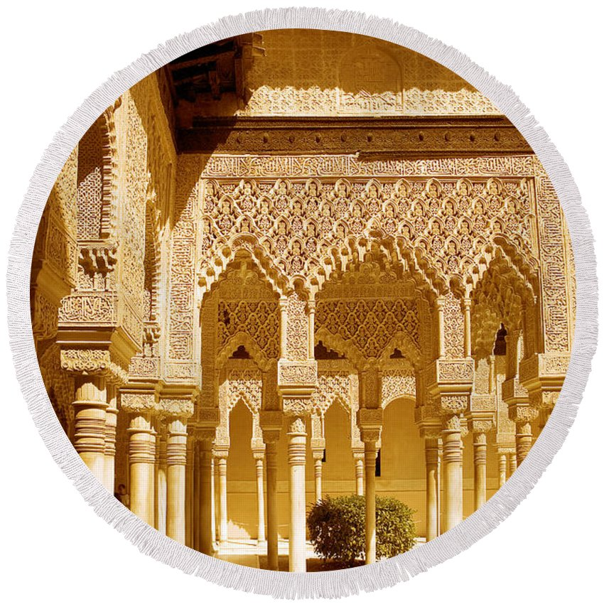 Moorish Round Beach Towel featuring the photograph Moorish Architecture In The Nasrid Palaces At The Alhambra Granada by Mal Bray