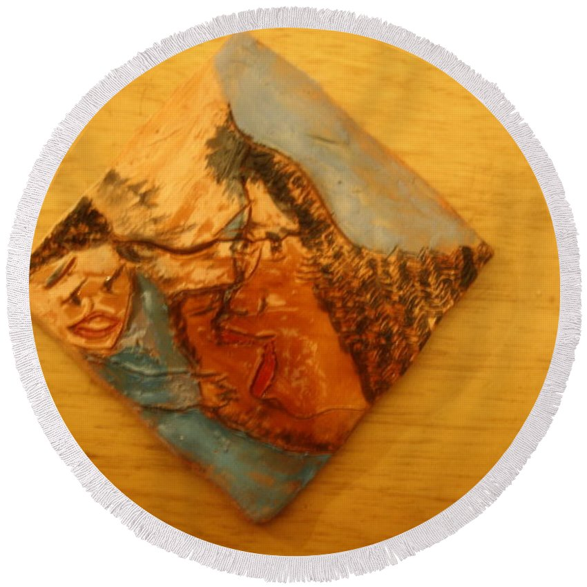 Jesus Round Beach Towel featuring the ceramic art Morning - Tile by Gloria Ssali