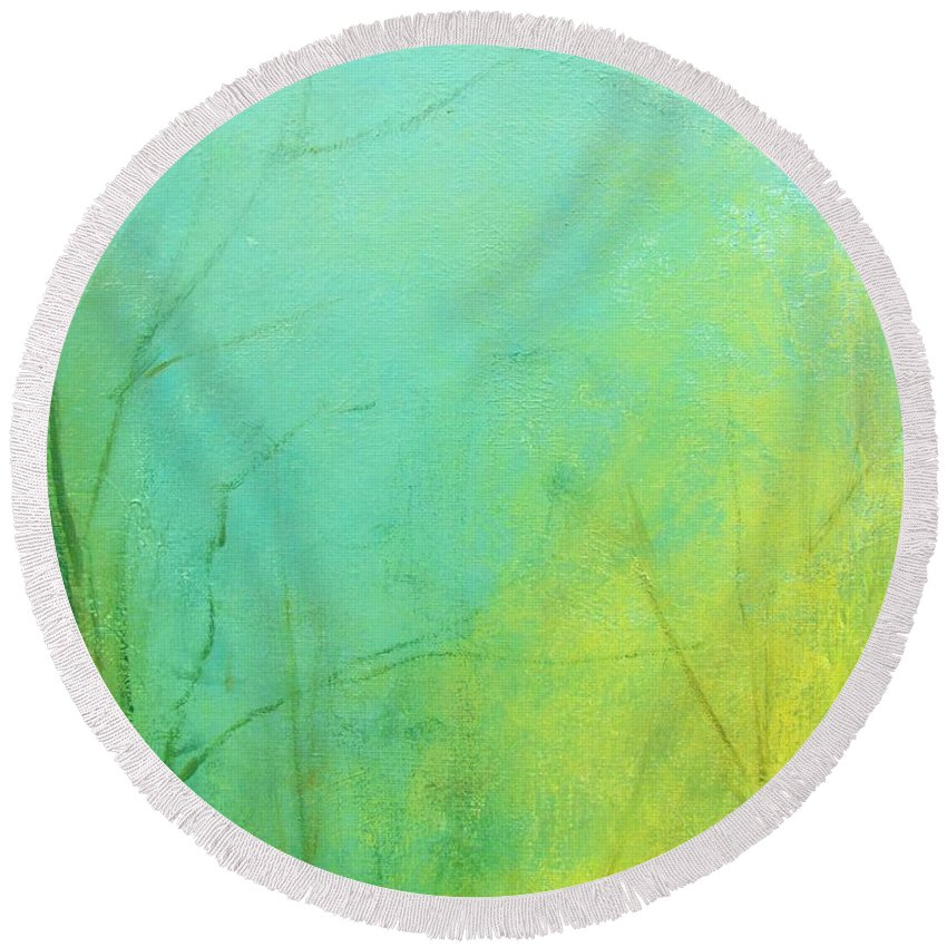 Landscape Round Beach Towel featuring the digital art Morning Blue 2 by Anahid Minatsaghanian