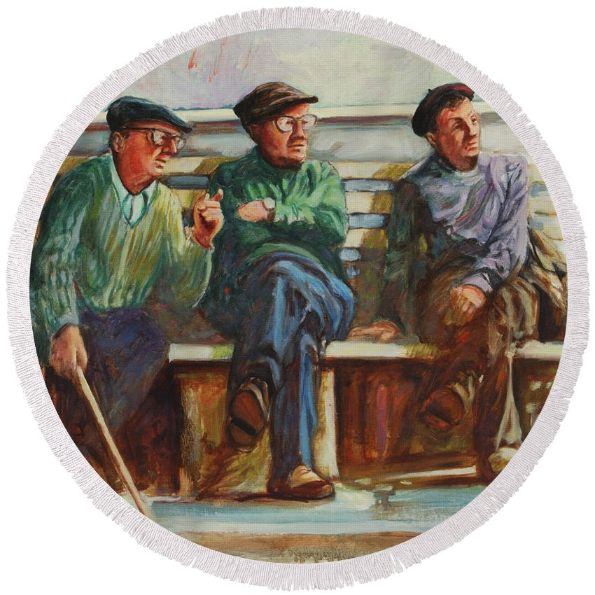 Cafe Round Beach Towel featuring the painting Morning Chat by Rick Nederlof