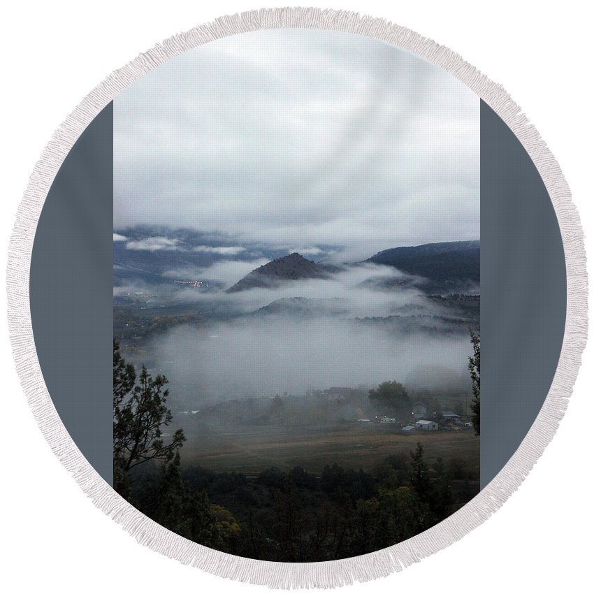 Landscape Round Beach Towel featuring the photograph Morning Fog by Samantha Burrow