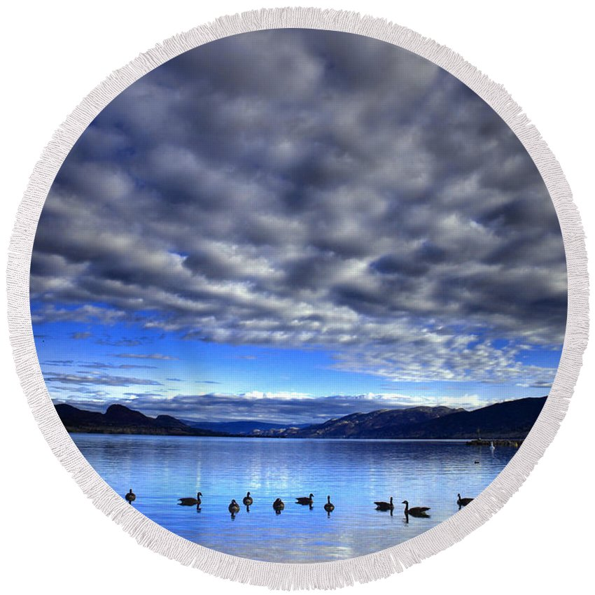 Clouds Round Beach Towel featuring the photograph Morning Light On Okanagan Lake by Tara Turner