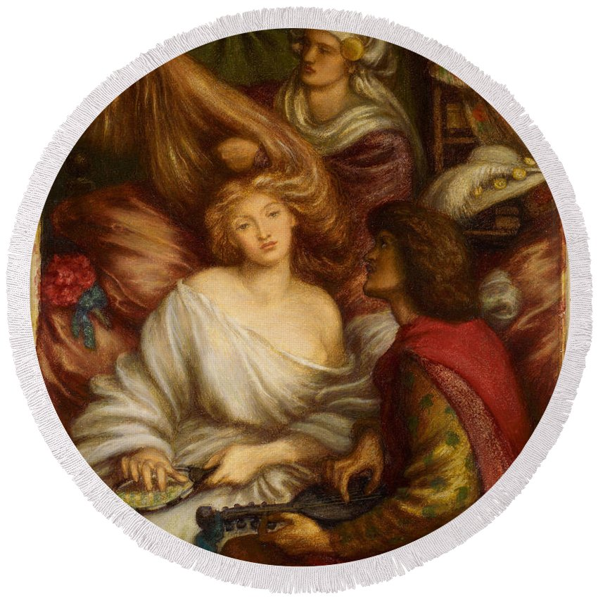 Dante Gabriel Rossetti Round Beach Towel featuring the painting Morning Music by Dante Gabriel Rossetti